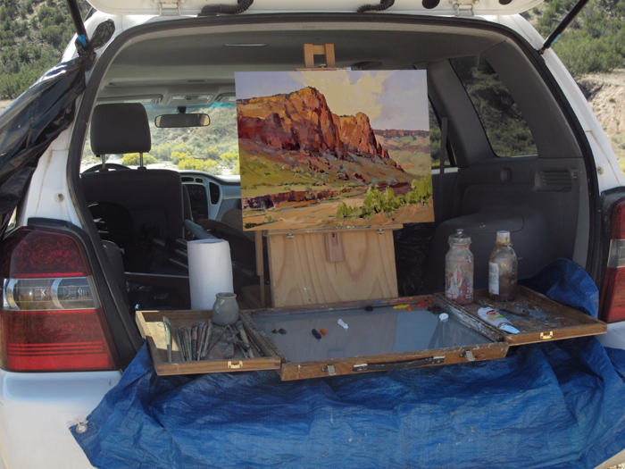 Don Finkeldei Painting from the Back of His SUV
